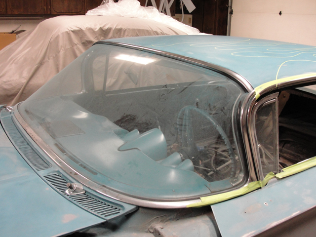 1959 Chevrolet Impala removed windshield for paint.