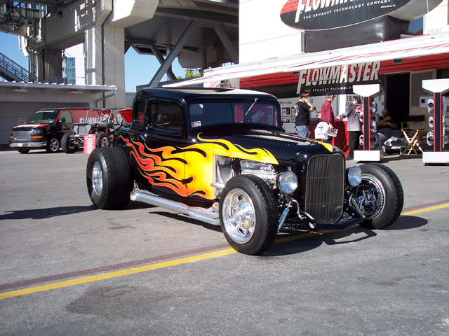 1932 Ford Custom installed all custom glass. Flames done by Chip Foose.
